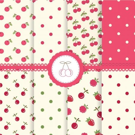 raspberry pink: Set of cherry and polka dot seamless patterns