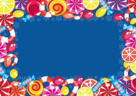 caramelos navidad: Marco dulces de Navidad Vectores