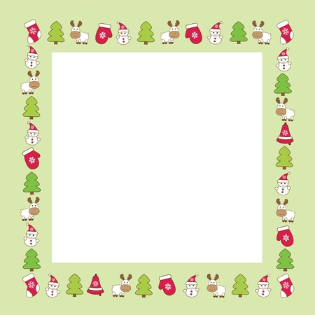 frame of funny miniature winter figures  Vector