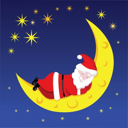 Santa sleeping on the moon over the night sky Vector