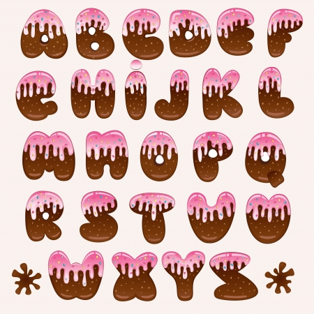 hand drawn chocolate cartoon alphabet with pink topping