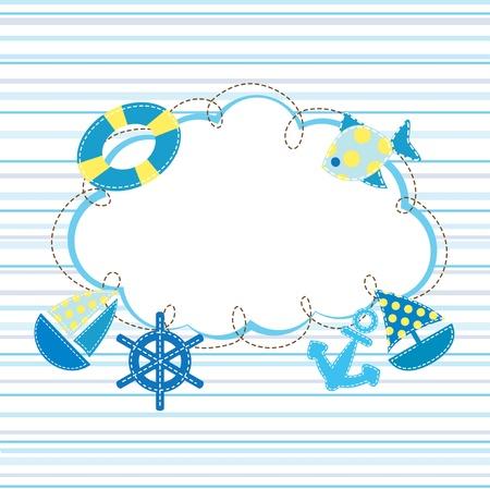 kid marine  patchwork fabric background Illustration