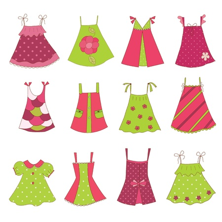 Set of baby girl dresses, isolated over white Vector