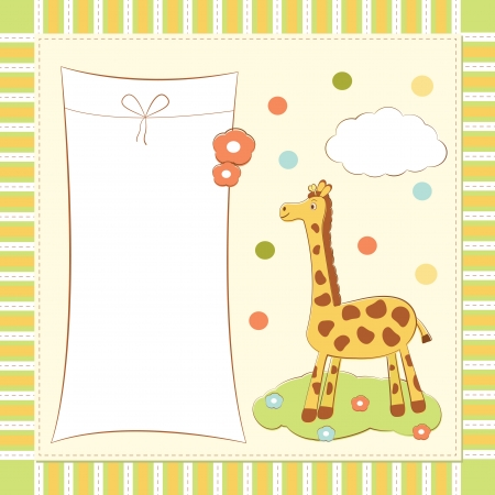 specifically: baby greeting card with giraffe Illustration