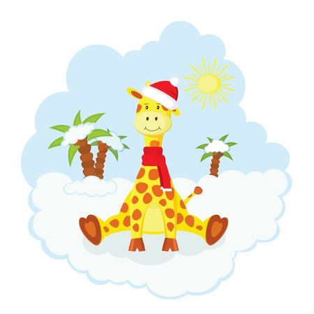 Christmas kid giraffe in hat and scarf  sitting  over snow Vector