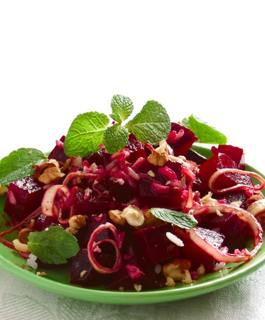 beetroot salad with walnut ,onion and mint