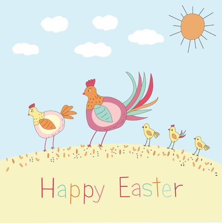 Doodle Easter illustration with family of chickens Vector
