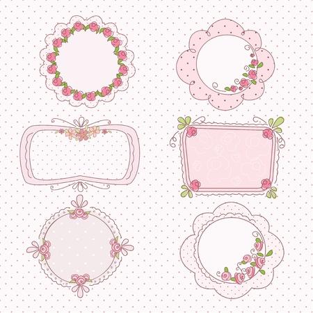 Cadres vintage romantique Doodle avec des fleurs Banque d'images - 19980329