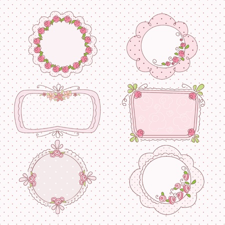 Doodle vintage romantic frames with flowers 矢量图像