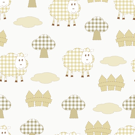 baby seamless pattern with sheep Vector