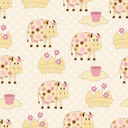 seamless pattern with funny cows Vector