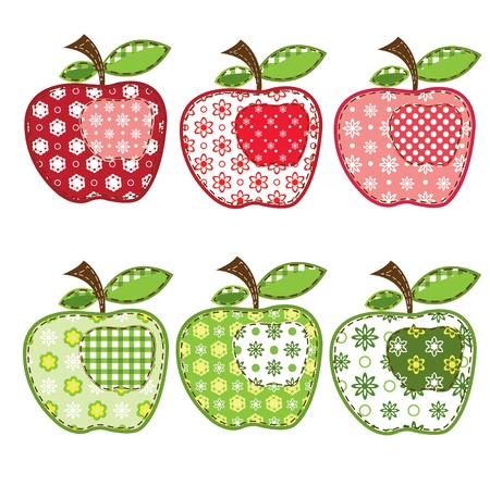 set of patchwork apples over white Vector