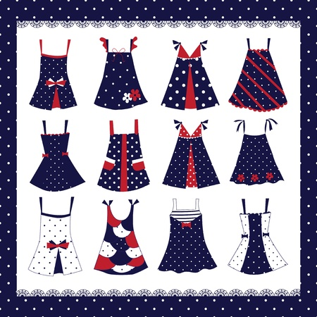 Set of kid girl dresses Vector