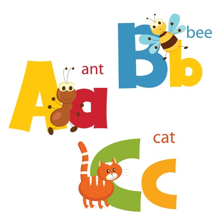 Funny alphabet  Letters A, B, C Vector