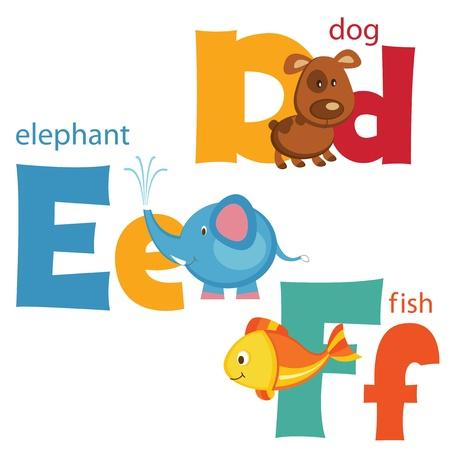 Funny alphabet  Letters D,E,F Illustration