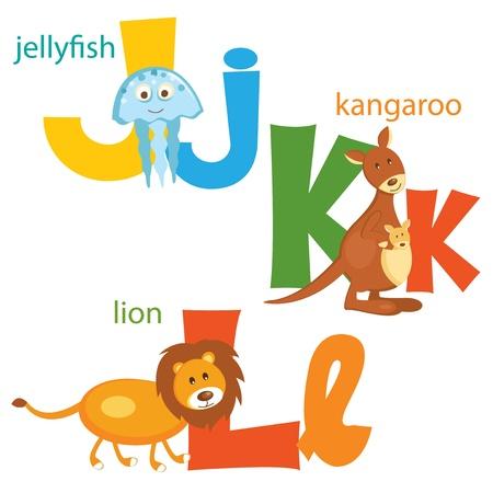 Funny alphabet  Letters J,K,L Vector