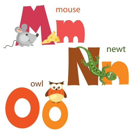 Lettres alphabet drôle M, N, O Banque d'images - 19980333