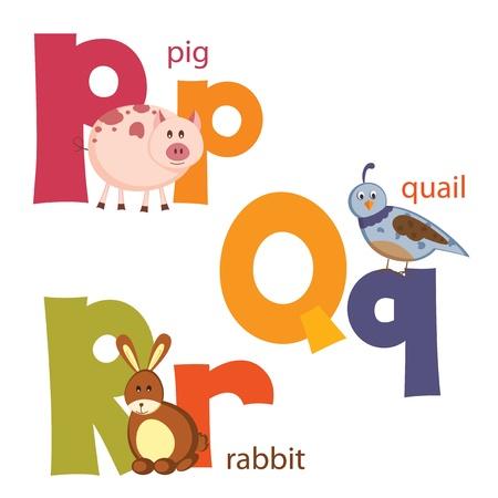 Funny alphabet  Letters P, Q, R 矢量图像