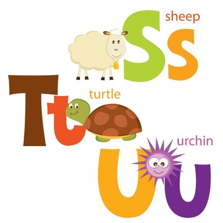 Funny alphabet  Letters S, T, U Illustration