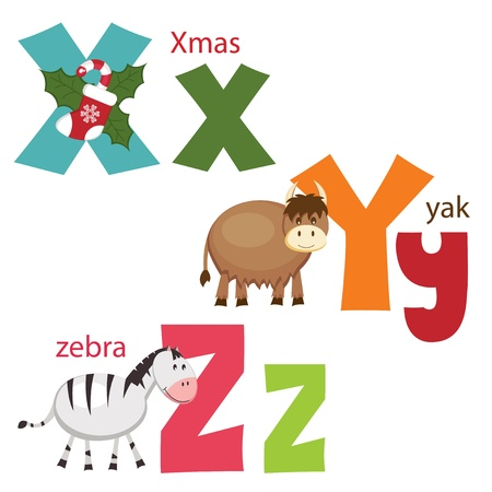 Funny alphabet  Letters X, Y, Z