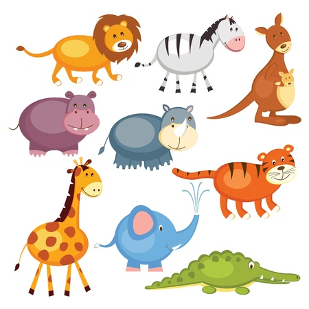 baby elephant: Set of cartoon cute wild animals, isolated over white