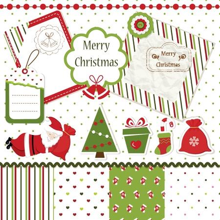 botas de navidad: Conjunto de elementos de dise�o del libro de recuerdos de Navidad Vectores