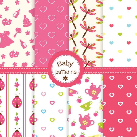 newborn baby girl: Set of baby girl seamless patterns Illustration