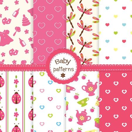 baby girl: Set of baby girl seamless patterns Illustration