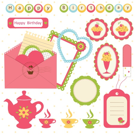 Set of birthday scrapbook elements Vector