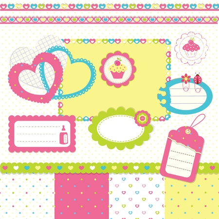 Newborn scrapbook design elements Vector