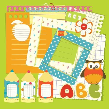 yellow photo: Set of school element for scrapbook Illustration