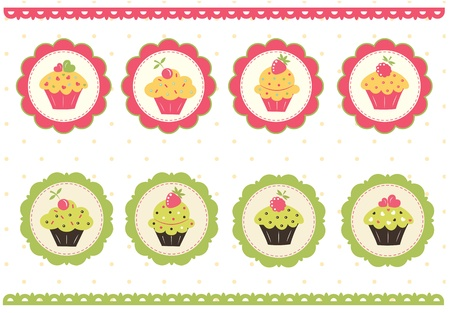 Set of cake stickers for scrapbook Vector