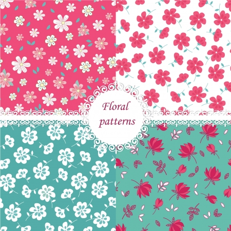 calico: Set of floral seamless patterns