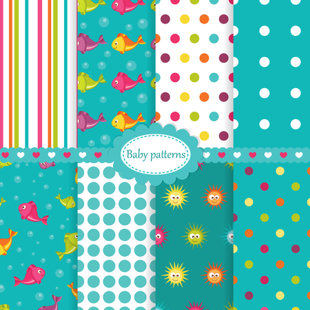Set of baby seamless patterns with fishes,sea stars and polka dots Vector