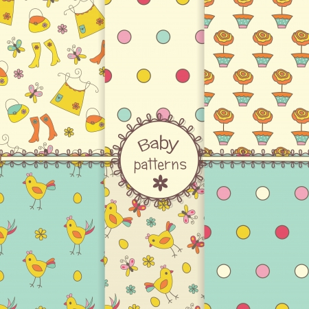 Set of baby doodle seamless patterns Vector