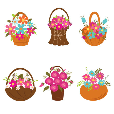 Set of baskets of flowers isolated over white Vector
