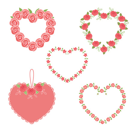 Set of flower heart frames Vector