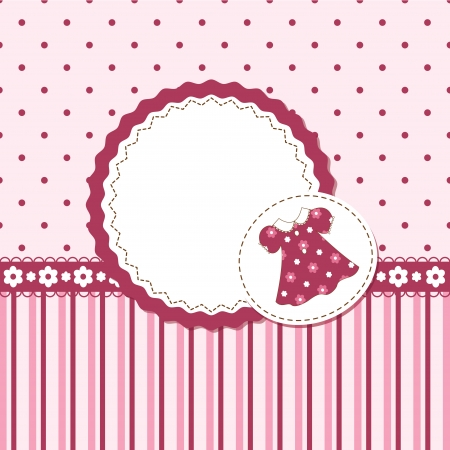 shower curtain: Vector card or invitation for baby girl shower or birthday party with stripes ,dress and  polka dots with white space for text  Illustration