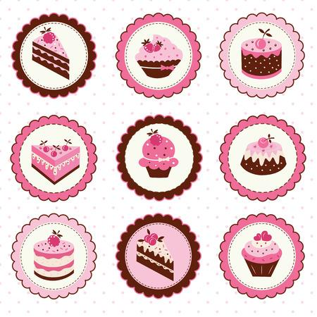 rebanada de pastel: Conjunto de pegatinas con pasteles de frutas Vectores
