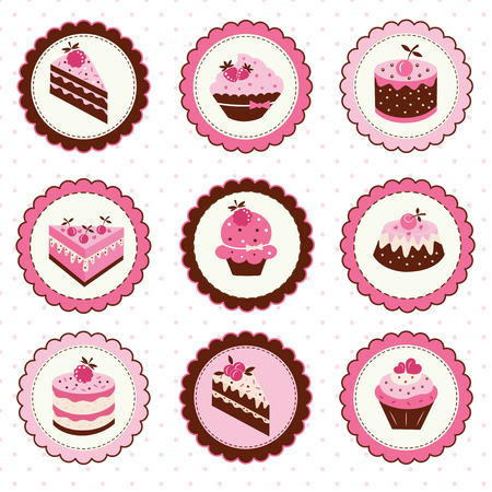 Set of  stickers with fruit cakes Vector
