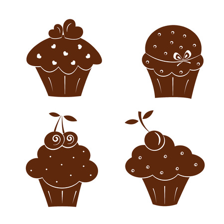Set of vector cake icons, isolated on white background 矢量图像