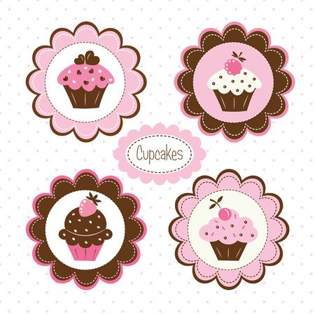 k�che: Satz von Cupcakes Vektor-Etiketten