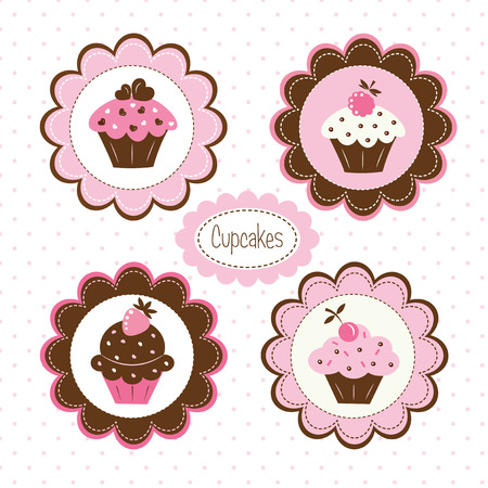 Set of cupcakes  vector labels Illustration