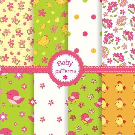 Set of funny baby seamless patterns  Vector