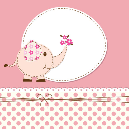 Pink baby shower with cartoon elephant 矢量图像