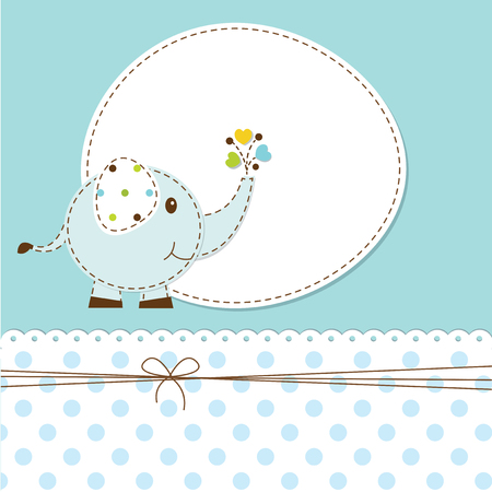 baby shower boy: Blue baby shower with cartoon elephant