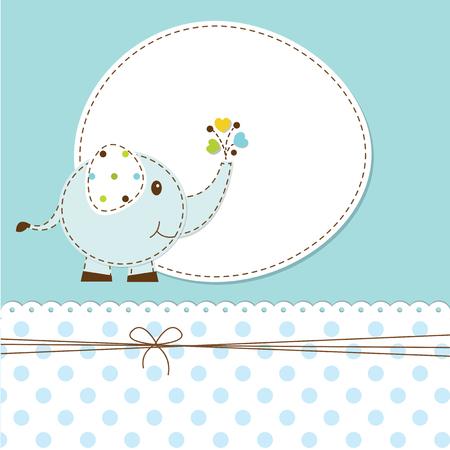 invitacion baby shower: Ducha de bebé azul con el elefante de la historieta