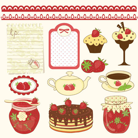 Set of strawberry design elements Vector
