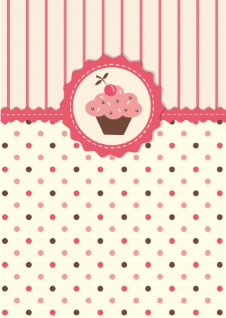 baby cupcake: Cute vector background with polka dots pattern and cupkcake