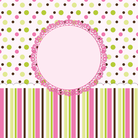 Vector card  for baby shower or birthday party with stripes and  polka dots with white space for  text  Vector